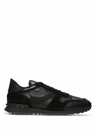 Valentino Garavani Valentino Garavani Rockrunner  Kamuflajlı Erkek Deri Sneaker 101547483 Siyah